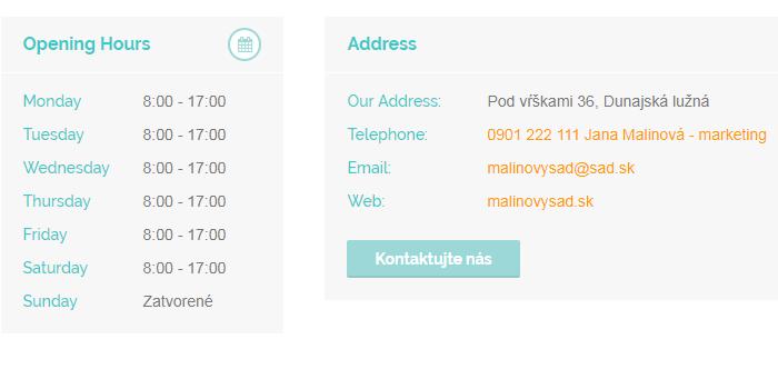 Prevádzkové hodiny a kontakty